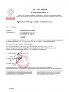 Bureau Veritas Commercial diving panama Certificate